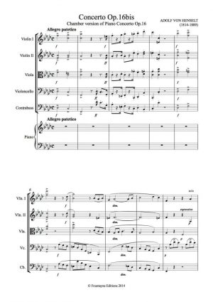 Henselt: Piano Concerto Op. 16bis, chamber version for piano and string quintet