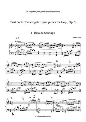 Ellis: First Book of Madrigals: Seven Lyric Pieces for solo harp Op. 5