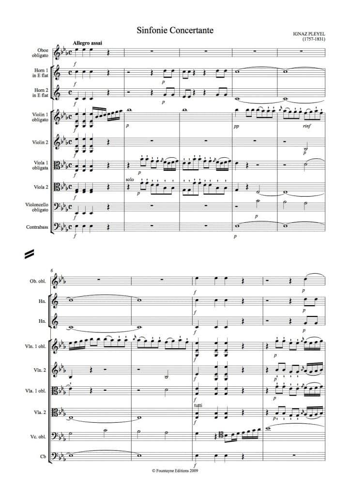 Pleyel: Sinfonie Concertante in E Flat for violin, viola, cello, oboe and  ripieno