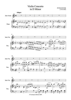 Winter: Concerto in D minor for violin with piano reduction