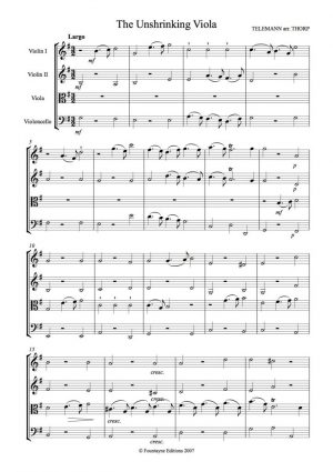 Telemann: The Unshrinking Viola for string quartet