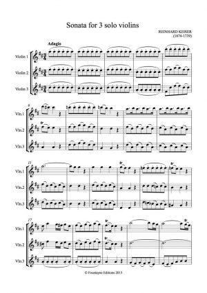 Keiser: Sonata in D for 3 violins