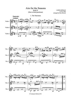 Oswald: Airs for the Seasons for 3 violins, book 2 (1st-3rd position)