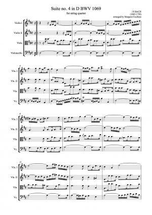 Bach, Johann Sebastian.  Suite no. 4 in D major BWV1069 arranged for string quartet