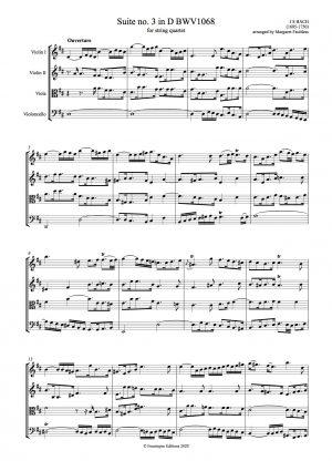 Bach, Johann Sebastian   Suite no. 3 in D major BWV1068 arranged for string quartet