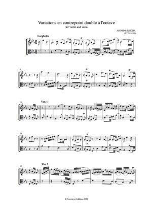 Reicha, Antoine Duo for violin & viola from Op. 84